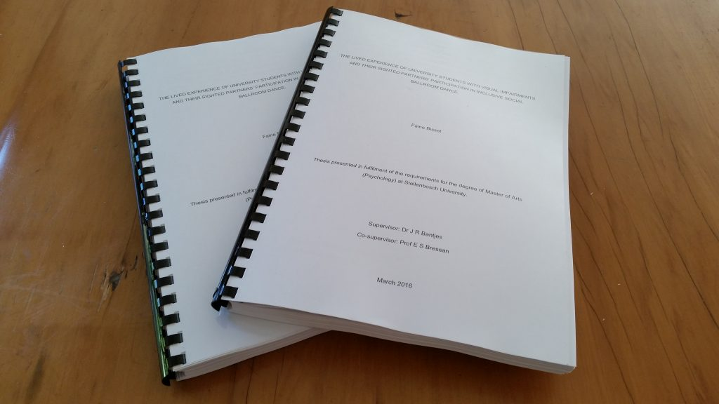 My MA thesis – printed, bound and ready for submission in March 2016. In total, 3 years and 165 pages of blood, sweat and tears (many, many tears).