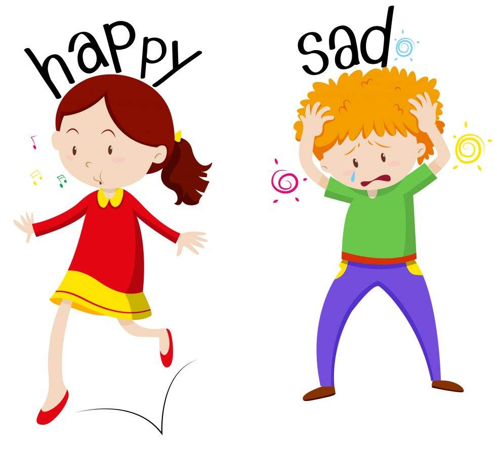 Happy girl and sad boy illustration